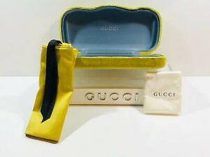 Gucci Sunglasses Eyeglasses Case Hard Velvet Yellow/Green with Pouch & Cloth New
