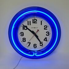 "Howard Miller Blue Neon Wall Clock 625-330 14"" Read Description"