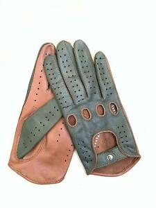 Women's Handmade Green & Cognac Genuine Napa Lambskin Leather for Driving Gloves