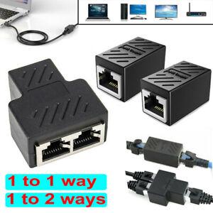 RJ45 Splitter Adapter LAN Ethernet Cable 1/2 Way Dual Female Port Connector Plug