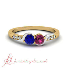 1 Carat Round Cut Diamond Mixed Metal Twisted 2 Stone Sapphire Rings For Women