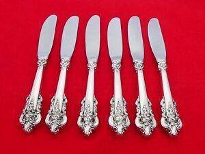 Set of 6 Wallace Sterling Silver Grande Baroque Butter Spreaders LU-1