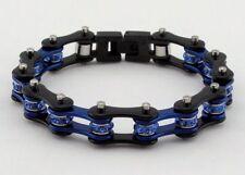 Women Stainless Steel W Crystals Motorcycle Bike Chain Bracelet Blue-Black