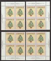 CANADA #901 15¢ Christmas Tree in 1881 Match Set of Inscription Blocks MNH