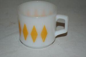 Vintage  Fire King #2 Yellow Diamond  milk glass COFFEE CUP -MUG EUC