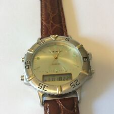 men's digital analog claremont Alarm watch New battery / leather band