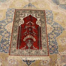 YILONG 2'x3' Red Handwoven Silk Rug Oriental Living Room Antistatic Carpet 279B