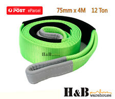 4M x 75 mm 12TON Snatch Strap Tree Trunk Protector 4WD Recovery Tow Strap C0043