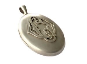 Antique Very Large VICTORIAN Silver Monogrammed PHOTO MOURNING Locket Pendant