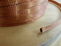 """15 FEET 3/8"""" BRAIDED GROUND STRAP GROUNDING Bare Copper Flat Braid MADE IN USA"""