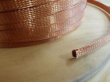 """10 FEET 3/8"""" BRAIDED GROUND STRAP GROUNDING Bare Copper Flat Braid MADE IN USA"""