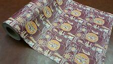 Half ream 24 inch wide old timey burgundy and orange mens gift wrap 417 feet