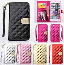 Quilted Bling Leather Flip Wallet Case Cover For Apple iPhone 5S 6 6Plus Samsung