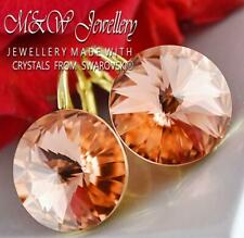Gold Plated 925 Silver Earrings Crystals From Swarovski® 14mm RIVOLI -Rose Peach