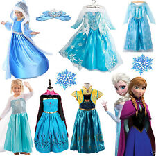 Frozen Fancy Dress Disney Costume Princess Halloween Cosplay Crown Glove Wig Lot