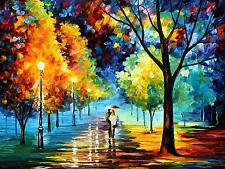 """NIGHT ALLEY   —  Oil Painting On Canvas By Leonid Afremov. Size: 40""""x30"""""""