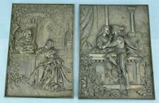 "Bronze Shakespeare wall plaques ""Romeo and Juliette"" and ""Miranda and Ferdinand"""