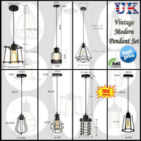 Geometric Wire Design Pendant Shades Easy Fit Retro Lighting LED Light Bulbs UK