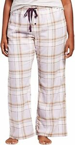 Gilligan & O'Malley Women's Woven Flannel Pants (Large, Purple Plaid)