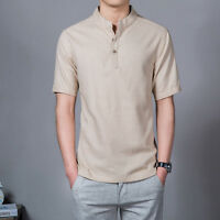 Mens Linen Button Neck Shirt T-Shirt Mandarin Collar Chinese Retro Casual New