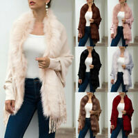Women Winter Knitted Cashmere Poncho Cape Fur Colla rShawl Cardigan Sweater Coat