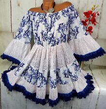 Tunika Kleid Top Fransen Ibiza Hippie Boho Carmen Shirt Baumwolle Altweiß 44 46
