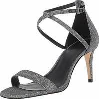 Michael Michael Kors Womens Ava Leather Open Toe Casual, Black/Silver, Size 8.5