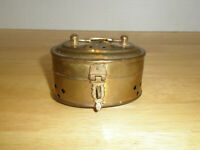 Vintage Brass Incense Box Hinged Lid Footed Made in India