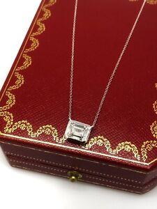 CARTIER Emerald Cut 2.02 ct GIA G-VVS2 East-West Pendant in Platinum - HM2164