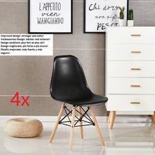 Noir Lot de 4 chaises design tendance rétro eiffel bois chaise de salle à manger