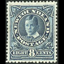 NEWFOUNDLAND Canada 1911-16 8c Greenish Blue. SG 123a Lightly Hinged Mint(WC181)