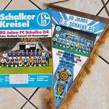 80 Jahre Schalke 04 Großer Wimpel + Programmheft 1984 Inter Mailand S04 JUBILÄUM