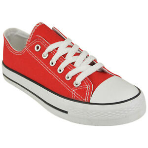 WOMENS CANVAS SHOES LADIES GIRLS TRAINERS CASUAL PLIMSOLLS LACE UP FLAT PUMPS