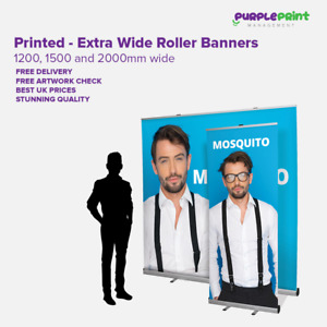 Extra wide Roller Banner Pop Up Pull Up Exhibition Stand - 1.2m 1.5m or 2m Wide
