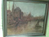F. GROHSBACH 52, Krantor mit Hafen in Danzig, Öl auf Malkarton, signiert und dat