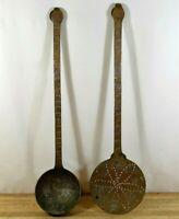 """Old Antique Copper Ladle & Draining Spoon Set Primitive Hand Hammered HUGE 19.5"""""""
