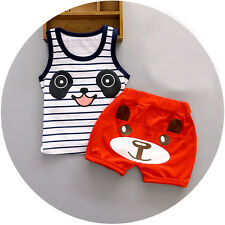 2pc baby boys clothes summer sleeveless Tee+short pants kids boys outfits panda