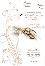 PARTECIPAZIONI  NOZZE matrimonio INVITO PARTECIPAZIONE CON FEDI