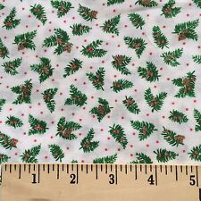 Fabric Cotton Evergreen Pine Cone Holly Berries Winter Holiday Quilt Craft Print