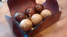 Oak Boules set in Leather Display Case - (Petanque)