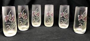 Set of 6 Sophisticated Purple Iris Floral Tumbler Drinking Beverage Glasses NWOT
