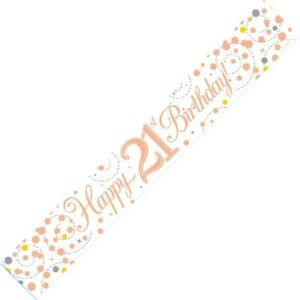 9ft White & Rose Gold Happy 21st Birthday Foil Banner Age 21 Party Decorations