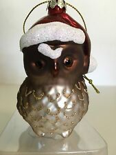 BROWN CHRISTMAS OWL GLASS ORNAMENT WEARING A RED SANTA HAT GLITTER