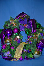 Chic Large Wreath with Purple Ribbon Ornaments Xm209