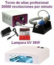 TORNO 30000 RPM + LAMPARA UV SECADOR DE UÑAS MANICURA GEL ESMALTE PERMANENTE 36W