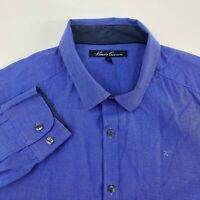 Kenneth Cole Button Up Shirt Mens Large Blue Long Sleeve Casual