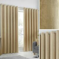 Ochre Eyelet Curtains Block-Out Thermal Plain Ready Made Ring Top Curtain Pairs