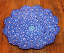 Persian Iranian enamel plate Signed Handpainted Footed Dish Wall Hanging Blue