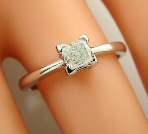 0.31ct square PRINCESS solitaire real DIAMOND engagement ring 14k white gold