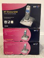 BT Diverse 6210 Digital Cordless Telephone In Titanium 3 Units Home System